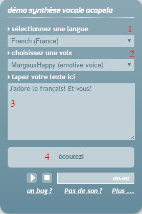 écouter du français Acapela synthèse vocale