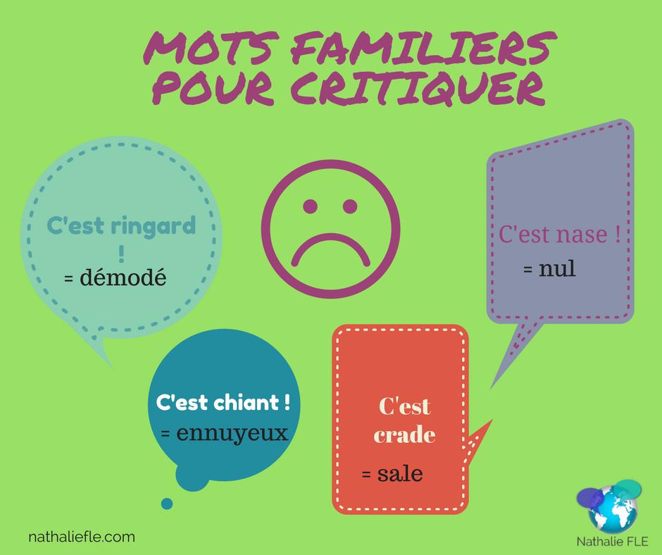 mots familiers en français