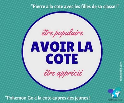 expression française avoir la cote