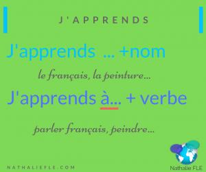 préposition à verbe apprendre