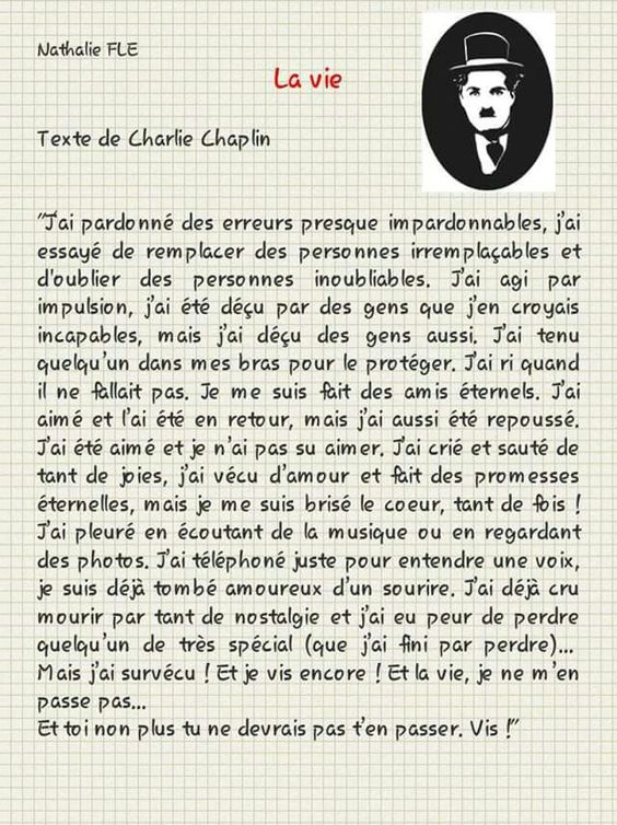 Accord du passé composé Texte Charlie Chaplin