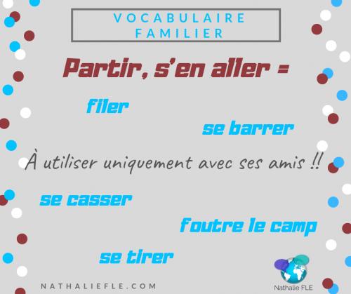 Dialogue en français familier se barrer