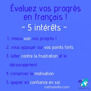 évaluer ses progrès en français